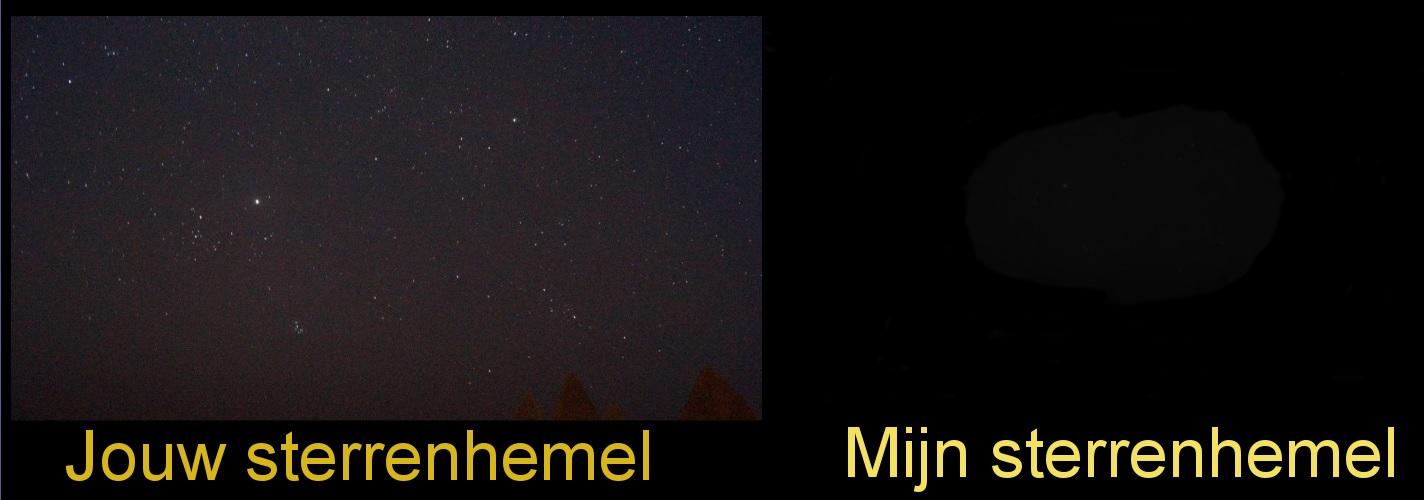 Links: sterrenhemel zoals zienden ze zien, rechts: sterrenhemel zoals ik ze zie (enkele vage steren)