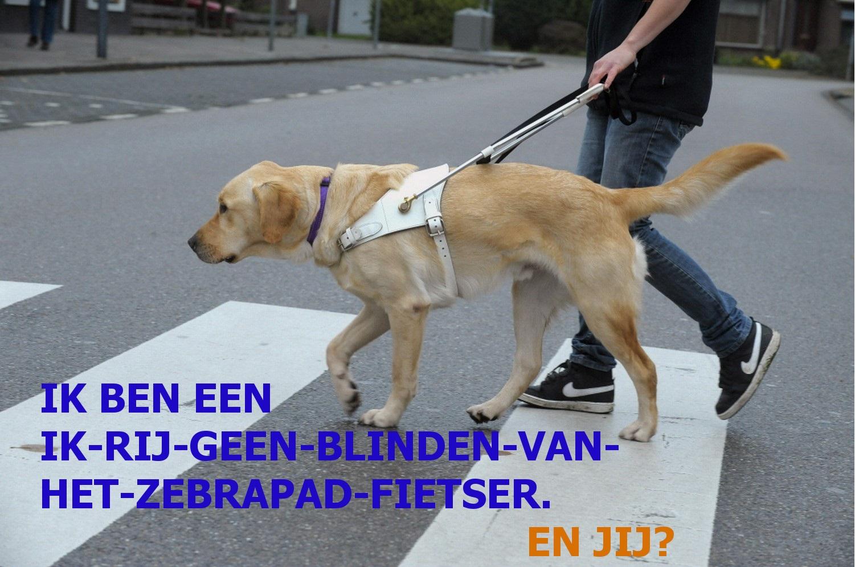 """Blinde en geleidehond op zebrapad. """"Ik ben een ik-rijd-geen-binden-van-het-zebrapad-fietser. En jij?"""""""